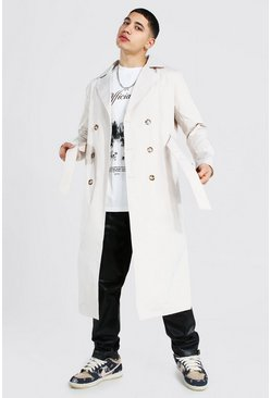 Stone Extra Longline Double Breasted Trench Coat