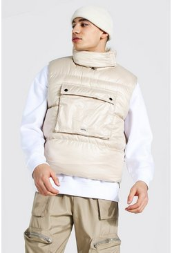 Stone Borg Lined Overhead Boxy Gilet