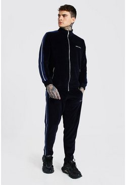 Navy Official Velour Funnel Neck Tape Split Hem Tracksuit