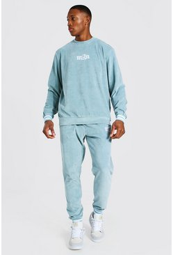 Blue Man Ribbed Cuff Velour Sweater Tracksuit