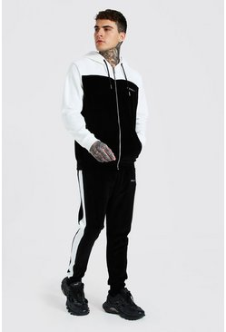 White Official Colour Block Velour Hooded Tracksuit