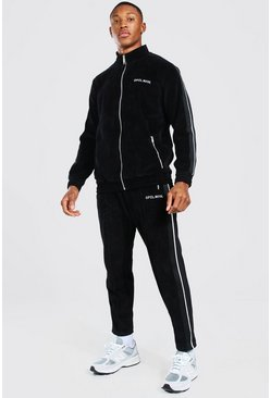 Black Official Velour Funnel Neck Tape Tracksuit
