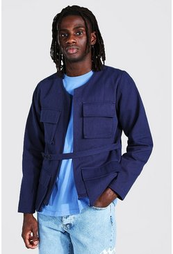 Blue Twill Utility Pocket Jacket With Belt Detail