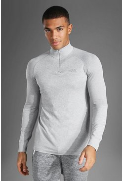 Grey marl Man Active Seamless 1/4 Zip Top