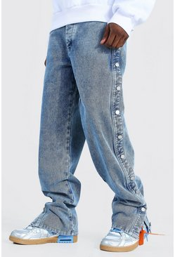 Relaxed Fit Button Side Jean, Light blue