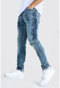 Mid blue Skinny Stretch Paint Detail Jean