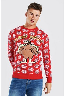 Turkey Slogan Christmas Jumper, Red