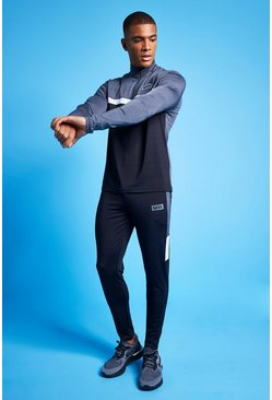 Charcoal Man Active Marl Colour Block 1/4 Tracksuit