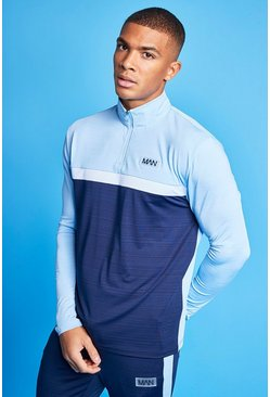 Pale blue Man Active Marl Colour Block 1/4 Zip Top