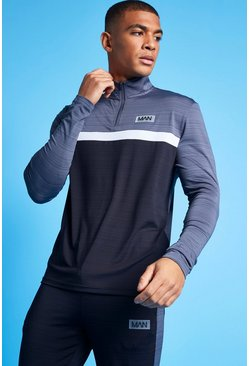 Charcoal Man Active Marl Colour Block 1/4 Zip Top