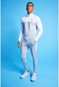 White Man Active Marl Colour Block 1/4 Tracksuit