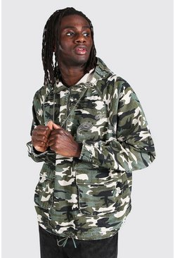 Khaki Oversized Hooded Camo Denim Cagoule