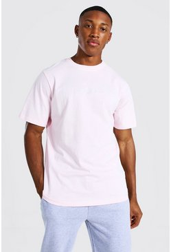 Pastel pink Man Signature Crew Neck T-shirt