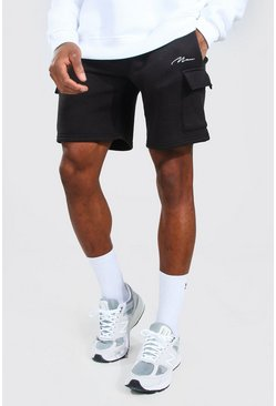 Black Man Signature Mid Length Cargo Jersey Shorts