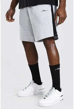 Grey marl Man Signature Mid Length Panel Jersey Shorts