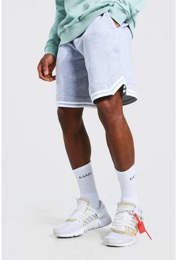 Grey marl Basic Basketball Jersey Shorts With Tape