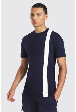 Navy Tall Colour Block Muscle Fit T-shirt