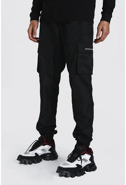 Black Tall Shell Man Official 3d Cargo Joggers