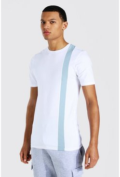 White Tall Colour Block Muscle Fit T-shirt