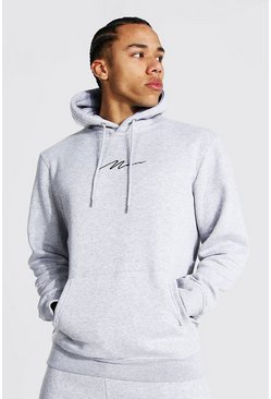Grey marl Tall Man Signature Embroidered Hoodie