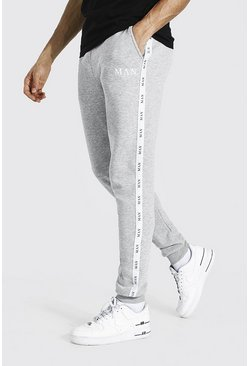 Grey marl Tall Skinny Fit Jogger With Tape