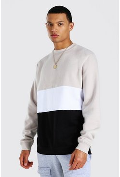 Stone Tall Colour Block Sweater
