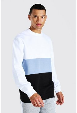 Blue Tall Colour Block Sweater