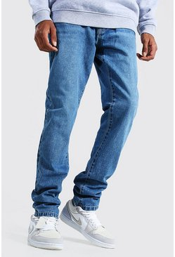Tall Steife Slim-Fit Jeans, Mittelblau