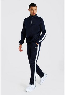 Navy Tall Man Funnel Neck Tricot Tracksuit