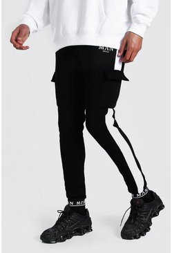 Black Tall Man Skinny Embroidered Cuff Cargo Jogger