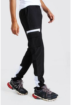 Black Tall Shell Cargo Contrast Joggers With Badge