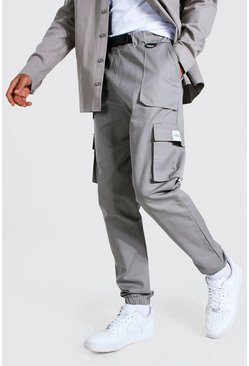 Grey Tall Twill Belt Front Cargo Jogger With Tab