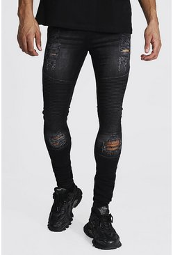 Black Tall Super Skinny Biker Jean With Distressing