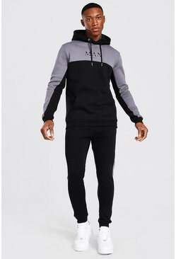 Black Man Roman Tape Colour Block Tracksuit