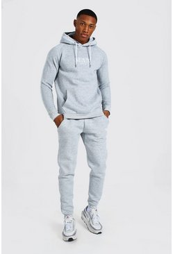 Grey marl Man Roman Hooded Rib Tracksuit