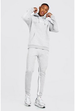 Grey marl Man Roman Tape Colour Block Tracksuit