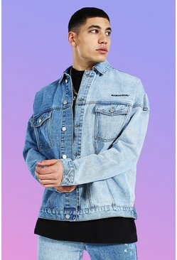 Ice blue Oversized Spliced Man Official Denim Jacket