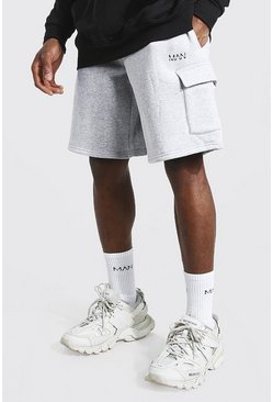 Grey marl Original Man Mid Length Cargo Jersey Shorts