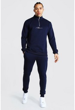 Tall - Ensemble de survêtement zippé - MAN, Navy