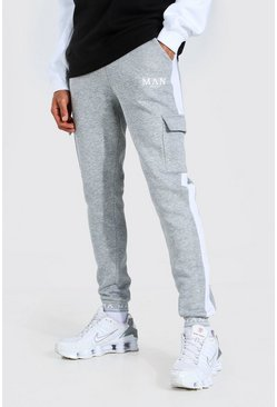Grey marl Tall Man Skinny Embroidered Cuff Cargo Jogger