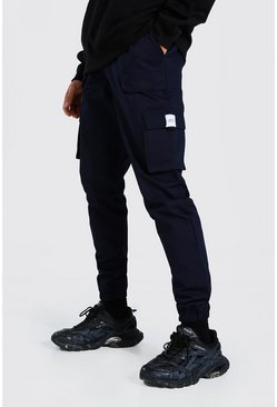 Navy Tall Twill Belt Front Cargo Jogger With Tab