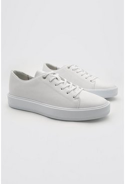 White Pu Lace Up Sneaker