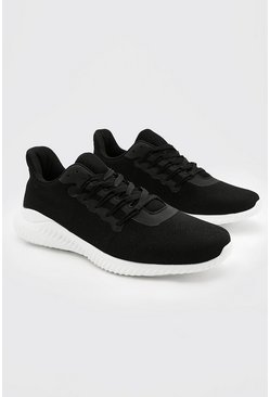 Black Mesh Runner Sneakers