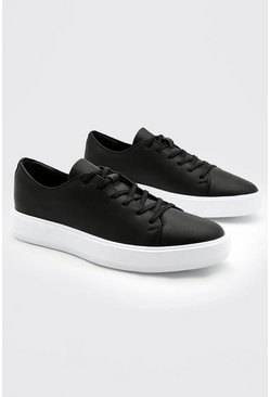 Black Pu Lace Up Trainer