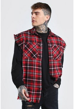 Red Boxy Sleeveless Check Shirt With Distressing