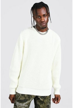 Cream Crew Neck Fisherman Rib Jumper