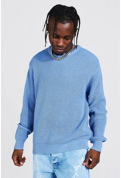 Dusty blue Crew Neck Fisherman Rib Sweater