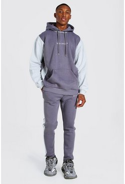 Slate Oversized Colour Block Tracksuit With Man Rib