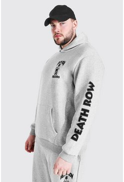 Grey Plus Size Death Row License Sleeve Print Hood