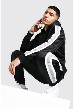 Poly Zip Hooded Tracksuit With Tape, Black
